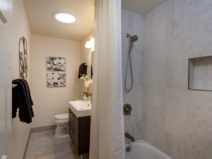 Hall bath, featuring Italian porcelain tile and a bright sun tunnel